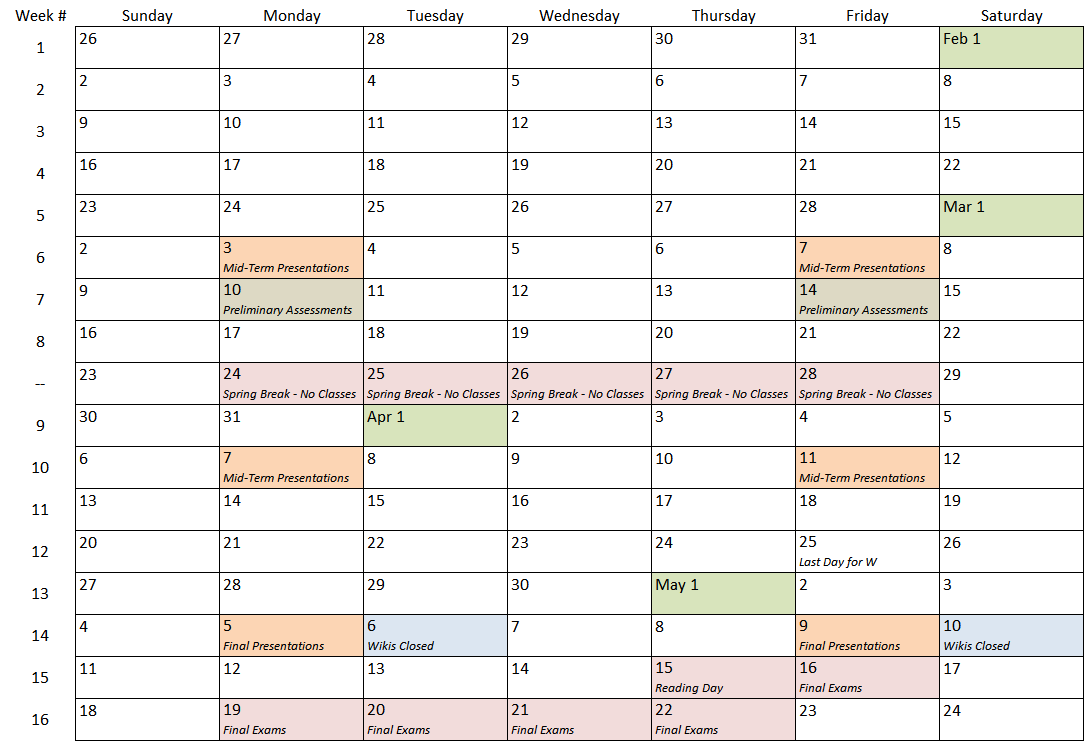 Semester Calendar 2135 - Engineering Applications